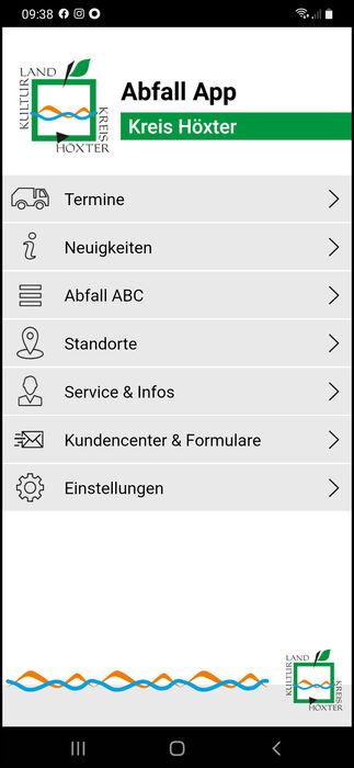 Screenshot von der neuen Abfall App des Kreises Höxter